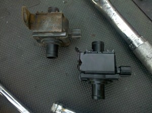 old vapor canister purge valve on left, new one on right, 2004 Subaru Impreza WRX