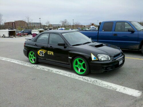 2004 Subaru Impreza WRX, at an FLR SCCA autocross event, with my green Ken Block style 5zigen fn01r-c wheels, 18x7.5