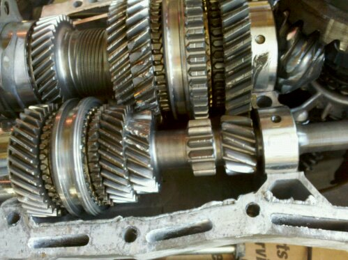 Subaru Impreza WRX GD 5 speed transmission, close-up on gears, 2nd gear missing some teeth