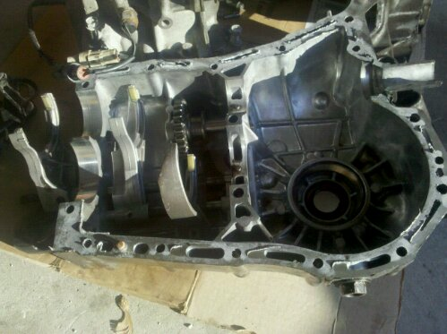 Subaru Impreza WRX GD 5 speed transmission opened up, shift selector forks are visible