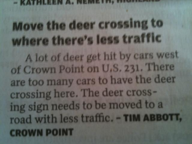 deer crossing letter to newspaper