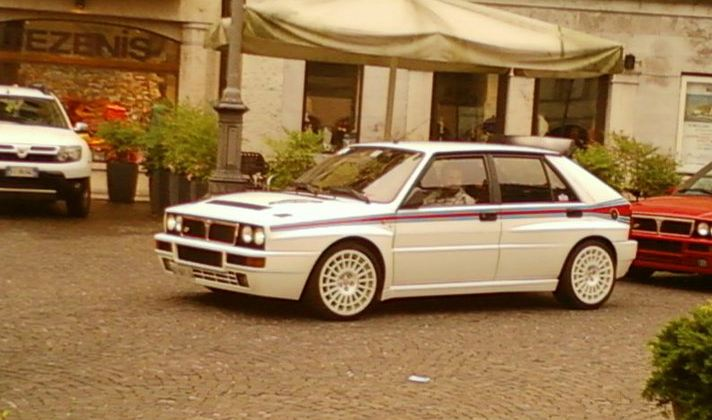Lancia Delta Integrale White with blue and red stripes