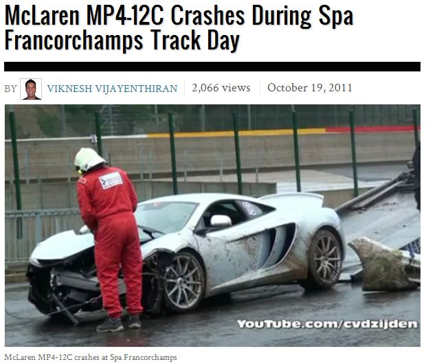 McLaren MP4-12C crashes at Spa Francorchamps Track Day