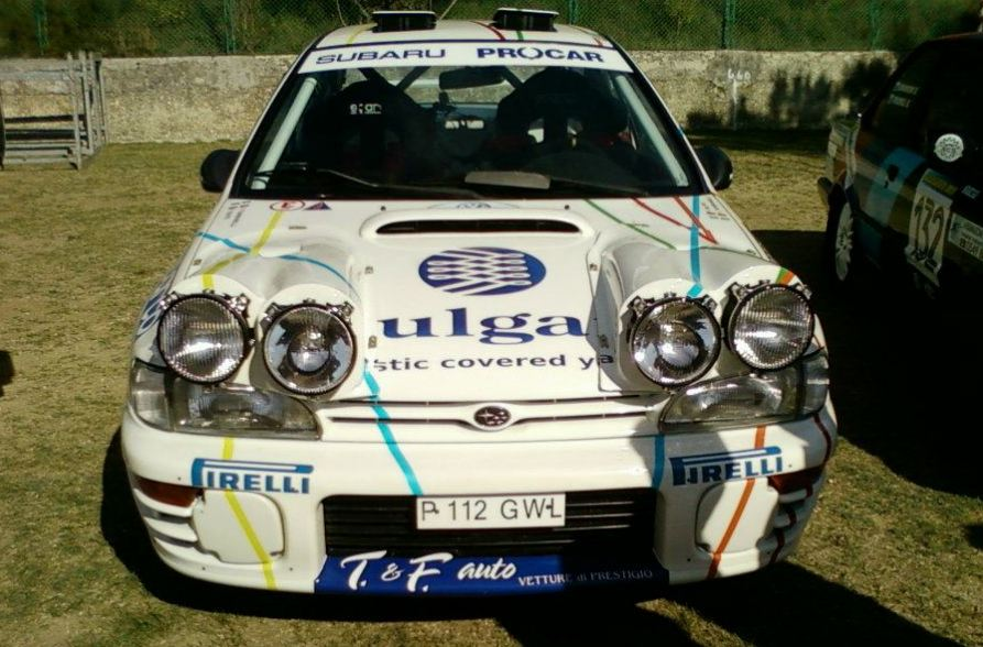 Subaru rally car, white, Ulga