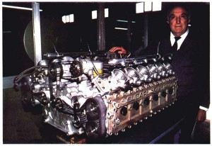 Subaru Flat 12 cylinder engine with its creator Carlo Chiti